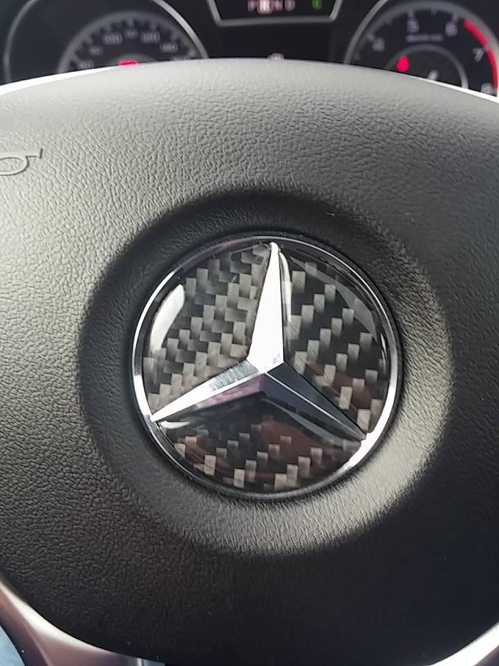 carbon fiber mercedes benz horn emblem