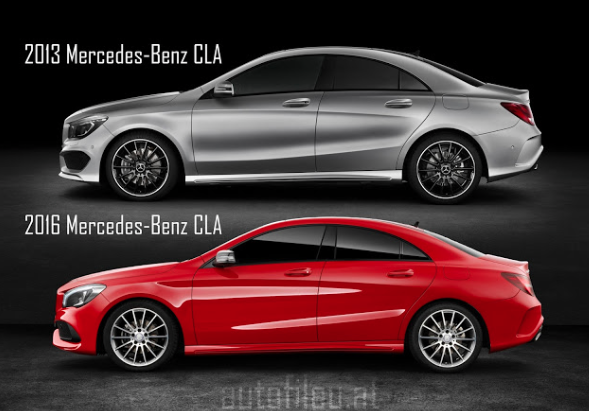 Mercedes Benz Cla >> CLA 2013 Vs 2016 Facelift Exterior comparison